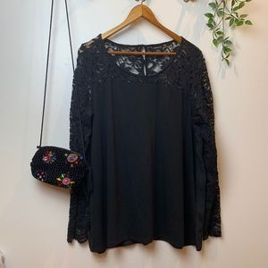 TORRID Black Lace Sleeve Flowy Blouse